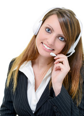 smiling attractive call center agent
