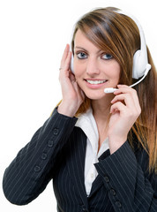 Help desk with smiling cute woman