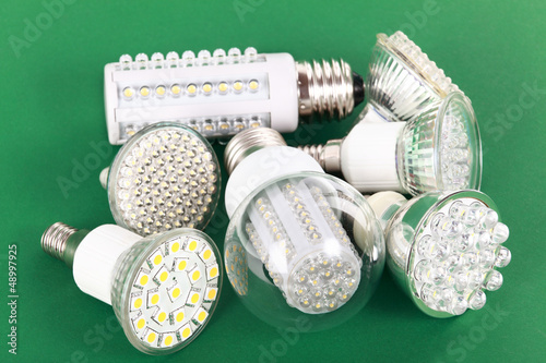 Newest LED light bulb on green