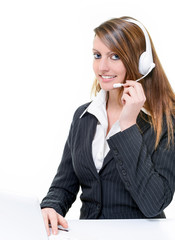 Hotline with smiling attractive girl