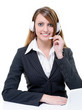 Hotline with smiling attractive woman