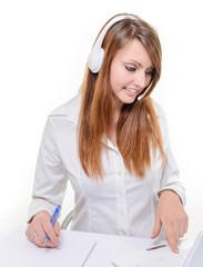 Smiling attractive woman in helpline