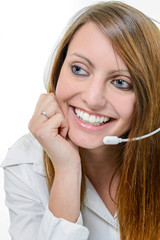 Very attractive woman operator talking