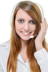 Portrait of smiling cheerful support phone operator
