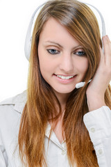 Smiling attractive woman with headphone isolated