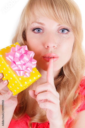 blonde and a gift box