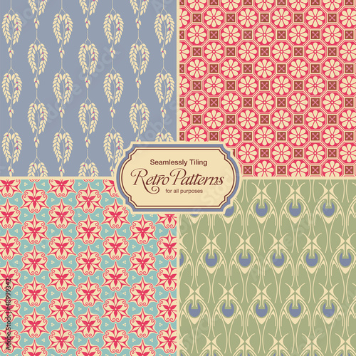 pastel-colored retro patterns - set of four vintage designs