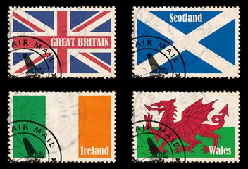 Set Briefmarken mit Fahnen Britische Inseln