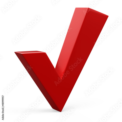 3d illustration of red check mark standing over white background