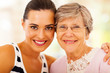 happy woman and senior mother closeup portrait
