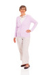 happy senior woman full length portrait on white