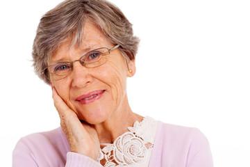 elderly woman headshot over white background