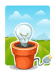 Energy concept, bulb in an electric flowerpot