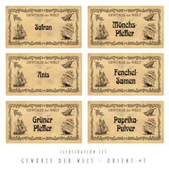 Illustration Set Gewürz-Etiketten, Orient #1