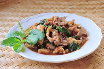 Thai food, Pork,with chili pepper and sweet basil.