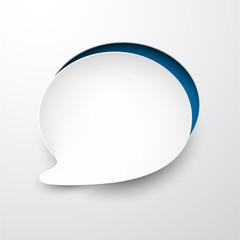 Paper white speech bubble round note.