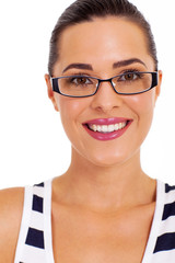 beautiful young woman with glasses headshot on white