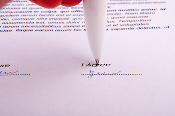 Signature over agreement