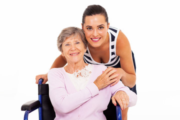 happy senior mother with her adult daughter isolated on white