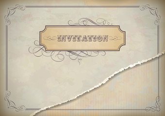 Vintage invitation design with label, text and frame