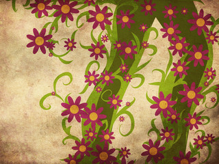Green floral with flowers on paper