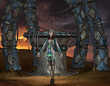 Kriegerin vor einem Portal