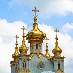 Closeup of golden cupola in Summer Gardens, Peterhof, Russia