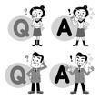 Q&A 質問と回答 男女 モノクロ