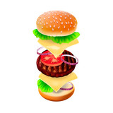 Hamburger - the view of every ingredient, vector Eps10 image.