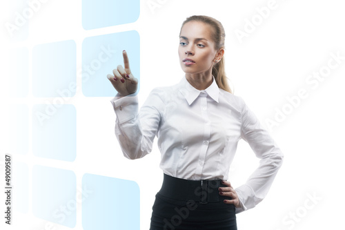 young beautiful business woman showing something