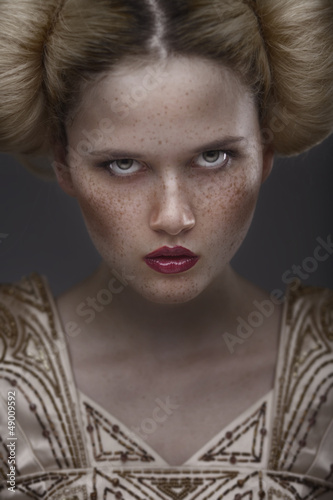 portrait of fashion beauty model with freckles