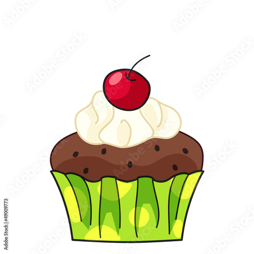 cupcake with cream and cherry