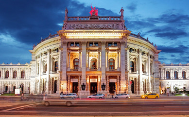 Theater Burgtheater of Vienna, Austria at night