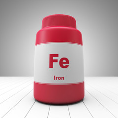 Iron supplements red bottle