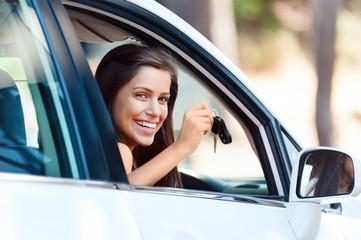 happy driving portrait