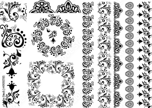 floral design borders, brushes