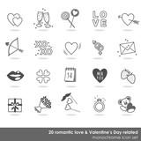 romantyczny zestaw biało szarych ikon miłość walentynki