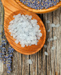 lavender bath salt on wooden table