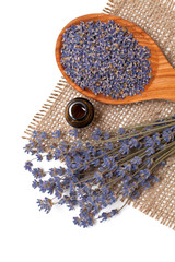 lavender petals and essential oil