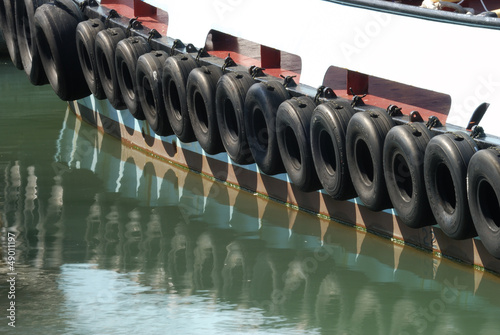 Tires on tug boat. Portsmouth. England