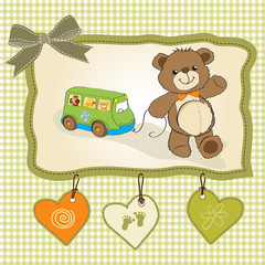baby shower card with cute teddy bear