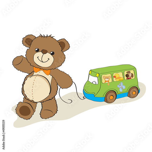 teddy bear toy pulling a bus