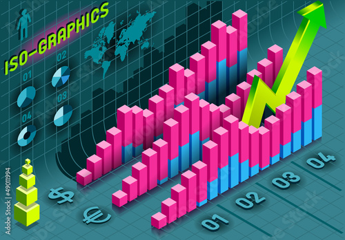 Isometric Infographic  Histogram Set Elements in Various Colors