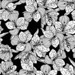 Abstract black seamless flower pattern with orchid.