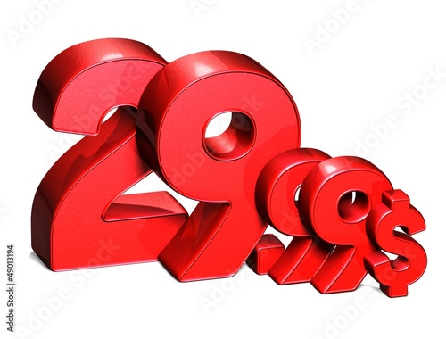 3D Red Special Price USD collection over white background