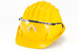 safety helmet and glasses