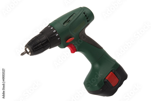 Cordless screwdriver isolated on white