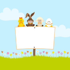 Duck, Bunny, Sheep & Easter Egg Label In Meadow