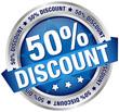 """Button Banner """"50% Discount"""" blau/silber"""