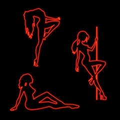 Neon silhouette of sexy girls